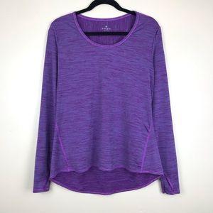 Athleta Stripe chi long sleeve purple blue top